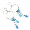 Silver Tone Light Blue Glass Bead Charm Hoop Earrings - 95mm Length