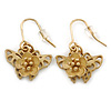 Matt Gold Butterfly & Flower Drop Earrings - 25mm L