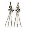 Vintage Inspired Diamante Bead, Chain Tassel Drop Earrings With Leverback Closure In Antique Silver Tone - 60mm Length