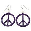 Purple Enamel 'Peace' Drop Earrings In Silver Plating - 50mm Length