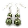 Dark Olive Simulated Glass Pearl, Crystal Drop Earrings In Rhodium Plating - 40mm Length