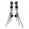 Vintage Inspired Brown, Grey Enamel Floral, Chain Tassel Drop Earrings In Burn Silver Tone - 8cm Length