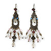 Vintage Inspired Bronze Tone Pink, Milky White Acrylic Bead Chandelier Earrings - 70mm Length