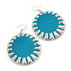 Large Round Teal Enamel Drop Earrings In Silver Tone - 45mm Diameter