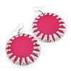 Large Round Bright Pink Enamel Drop Earrings In Silver Tone - 45mm Diameter