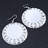 Large Round White Enamel Drop Earrings In Silver Tone - 45mm Diameter