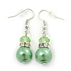 Lime Green Simulated Glass Pearl, Crystal Drop Earrings In Rhodium Plating - 40mm Length