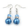 Violet Blue Glass Pearl, Crystal Drop Earrings In Rhodium Plating - 40mm Length