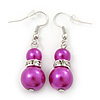 Fuchsia Simulated Pearl, Crystal Drop Earrings In Rhodium Plating - 40mm Length