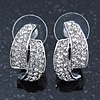 Silver Tone Clear Austrian Crystal C Shape Stud Earrings - 20mm L