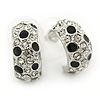 Silver Tone Clear Crystal, Black Enamel C Shape Hoop Earrings - 18mm D