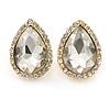 Gold Plated Clear Glass Teardrop Stud Earrings - 18mm Length