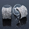 Small C Shape Clear Austrian Crystal Stud Earrings In Rhodium Plating - 12mm L