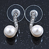 Bridal/ Prom/ Wedding White Simulated Pearl Crystal Stud Earrings In Rhodium Plating - 17mm L
