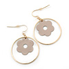 Gold Plated Hoop With Magnolia Flower Drop Earrings - 45mm Length