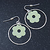 Silver Tone Hoop With Pastel Green Flower Drop Earrings - 45mm Length