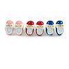 Set Of 3 Children's/ Teen's / Kid's Small Enamel 'Shoe' Stud Earrings In Pink/ Red/ Blue- 13mm Length