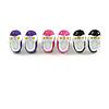 Set Of 3 Children's/ Teen's / Kid's Small Enamel 'Shoe' Stud Earrings In Pink/ Purple/ Black - 13mm Length Tone - 13mm L