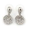 Rhodium Plated Clear Austrian Crystal 'Coin' Stud Earrings - 25mm Length