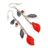 Silver Tone Grey Bead, Red Acrylic Leaf Chain Drop Earrings - 65mm Length