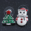 Green Christmas Tree & White Snowman Diamante Stud Earrings In Rhodium Plating - 20mm Width