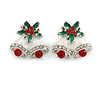 Christmas 'Jingle Bells' Red/ Clear Crystal, White/Green Enamel Stud Earrings In Rhodium Plating - 20mm Width