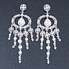 Oversized Bridal, Prom, Wedding Clear Austrian Crystal Chandelier Earrings In Rhodium Plating - 12cm Length