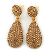 Bridal, Prom, Wedding Pave Light Topaz Coloured Austrian Crystal Teardrop Earrings In Gold Plating - 48mm Length