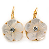 Gold Plated Mother Of Pearl Crystal Flower Drop Earrings With Leverback Closure - 28mm L