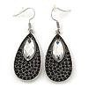 Vintage Inspired Black, Clear Crystal Teardrop Earrings In Antique Silver Tone - 55mm Length