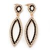 Black & Clear Crystal Open Oval Drop Earrings In Gold Tone - 60mm Length