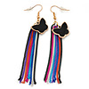 Black Enamel Butterfly & Multicoloured Chain Dangle Earrings In Gold Plating - 85mm Length