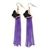 Black Enamel Butterfly & Purple Chain Dangle Earrings In Gold Plating - 85mm Length