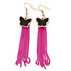 Black Enamel Butterfly & Deep Pink Chain Dangle Earrings In Gold Plating - 85mm Length