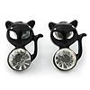 Teen's Black Crystal Kitty Stud Earrings In Silver Tone Metal - 12mm Length
