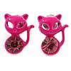 Teen's Deep Pink Crystal Kitty Stud Earrings In Silver Tone Metal - 12mm Length