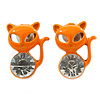 Teen's Orange Crystal Kitty Stud Earrings In Silver Tone Metal - 12mm Length