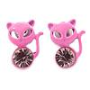 Teen's Baby Pink Crystal Kitty Stud Earrings In Silver Tone Metal - 12mm Length