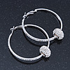Silver Tone Earrings With A Crystal Ball - 50mm Diameter