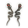 Hematite Crystal Snake Drop Earrings In Black Tone Metal - 45mm L