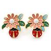 Multicoloured Enamel Flower & Ladybug Stud Earrings In Gold Metal - 23mm Width