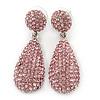 Bridal, Prom, Wedding Pave Pink Austrian Crystal Teardrop Earrings In Rhodium Plating - 48mm Length