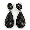 Pave Jet Black Austrian Crystal Teardrop Earrings In Rhodium Plating - 48mm Length
