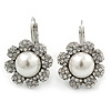 Rhodium Plated Clear Crystal, Glass Pearl 'Daisy' Drop Earrings With Leverback Closure - 30mm Length
