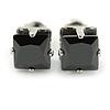 Cz Black Square Stud Earrings In Silver Tone - 7mm