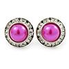 Deep Pink Acrylic Bead, Diamante Button Stud Earrings In Silver Tone - 15mm Diameter