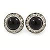 Black Acrylic Bead, Diamante Button Stud Earrings In Silver Tone - 15mm Diameter