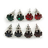 8mm Set Of 4 Round Jewelled Stud Earrings In Silver Tone Red/ Green/ Blue/ Purple