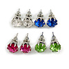 8mm Set Of 4 Round Jewelled Stud Earrings In Silver Tone Blue/ Magenta/ Green/ Clear