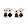 Small Deep Purple/ Black Crystal Drop Earrings In Silver Tone - 20mm L